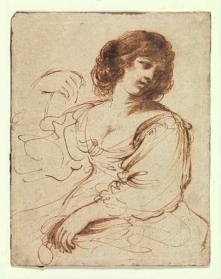 A Seated Young Woman Looking Art Print by Guercino