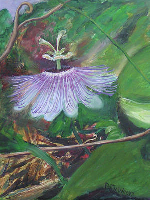 Passion Flower Vine Painting - A Secret Passion by Patty Weeks