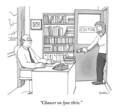 Publishing Drawing - A Secretary Informs An Editor by Charlie Hankin