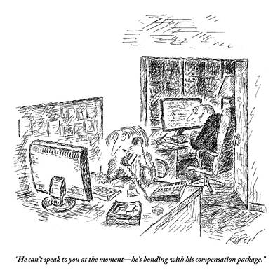Screen Drawing - A Secretary Speaks Into The Phone by Edward Koren