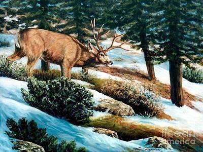 Snow Scene Painting - A Sense Of Danger by Tom Chapman