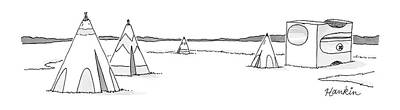 Surrealism Drawing - Teepees And Pencil Sharpener by Charlie Hankin