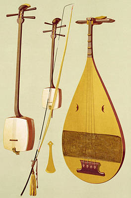Lute Drawing - A Shamisen, A Kokyu And A Biwa by Alfred James Hipkins