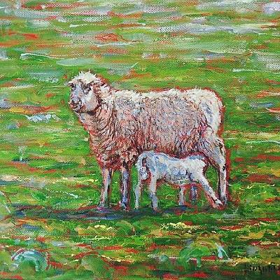 Sheep Photograph - A  #sheep  And A  #lamb  #painting by Alexandra Cook