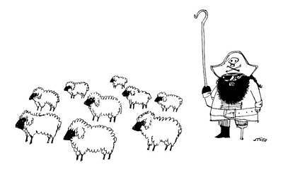 Shepherds Drawing - A Shepherd Dressed Like Captain Hook by Edward Steed