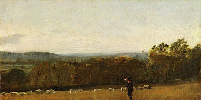 Dedham Painting - A Shepherd In A Landscape Looking Across Dedham Vale by Litz Collection