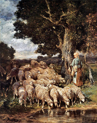Charles Digital Art - A Shepherdess With Her Flock Near A Stream by Charles Emile Jacque