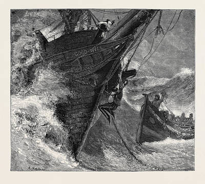 Storm Drawing - A Ship At Storm by English School