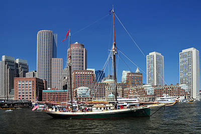 A Ship In Boston Harbor Art Print by Mitchell Grosky