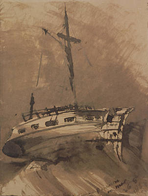 Pen And Ink Drawing Painting - A Ship In Choppy Seas by Victor Hugo