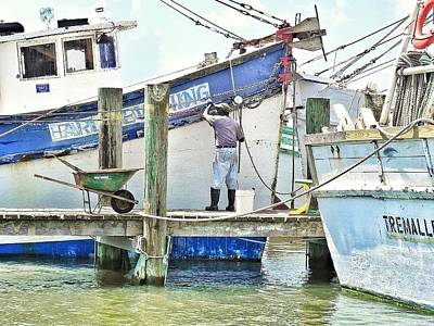 Photograph - A Shrimper's Work Is Never Done by Patricia Greer