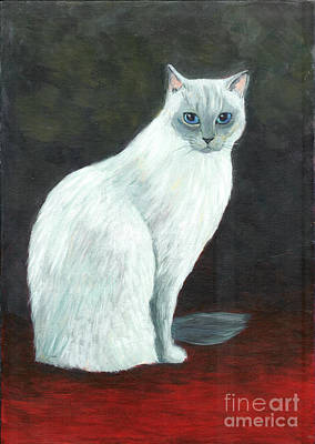 Art Print featuring the painting A Siamese Cat On Red Mat by Jingfen Hwu