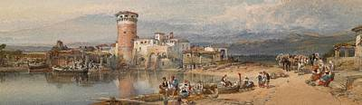 Italian Landscapes Drawing - A Sicilian Village by William Leighton Leitch