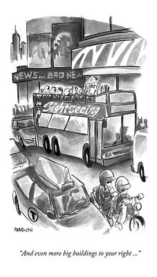 Sightseeing Drawing - A Sightseeing Guide In New York City Announces by Corey Pandolph