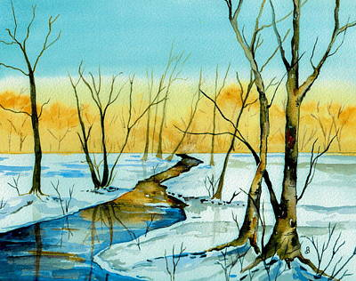 Snowscape Painting - A Sign Of Winter by Brenda Owen