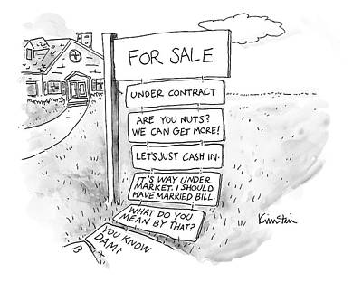 For Sale Drawing - A Sign Stands In Front Of A House by Ken Krimstein
