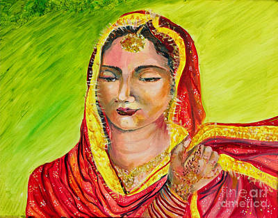Indian Wedding Painting - A Sikh Bride by Sarabjit Singh