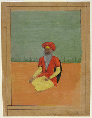Sikh Photograph - A Sikh Kneeling by British Library