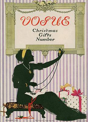 A Silhouetted Woman Opening Gifts Print by Jessie Gillespie