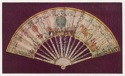 Pegasus Drawing - A Silk Folding Fan With  Decorative by Mary Evans Picture Library