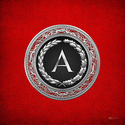 Digital Art - A - Silver Vintage Monogram On Red Leather by Serge Averbukh