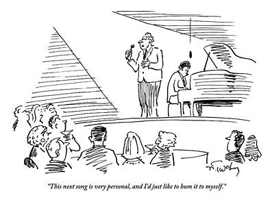 Singer Drawing - A Singer On Stage Is Addressing A Crowded by Mike Twohy