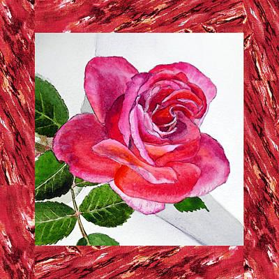 Edge Painting - A Single Rose Juicy Pink  by Irina Sztukowski