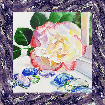 A Single Rose Mable Blue Glass Art Print