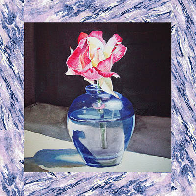 Watercolor Floral Painting - A Single Rose Mable Blue by Irina Sztukowski