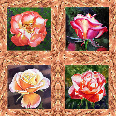 A Single Rose Quartet  Art Print by Irina Sztukowski