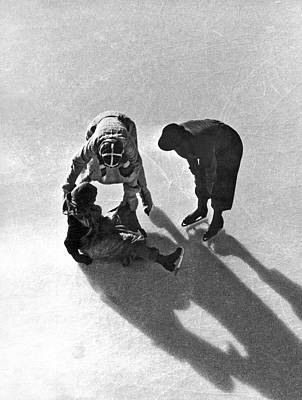 Photograph - A Skater Gets Help From A Friend by Underwood Archives
