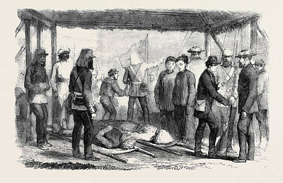 A Sketch At The Landing Place Canton After The Fight Art Print by English School