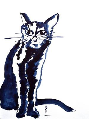 Spirit Cat Essence Painting - A Sketchy Cat by Beverley Harper Tinsley