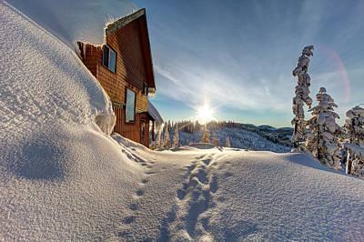 Ski House Wall Art - Photograph - A Ski Chalet Blanketed In Deep Snow Is by Boomer Jerritt