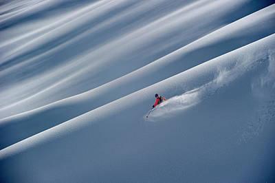 A Ski Guide Rides On Sun Shadow Lines Art Print
