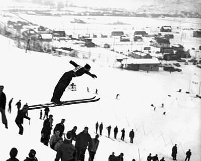 Photograph - A Ski Jump On A Snowy Day by Underwood Archives