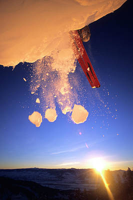 A Skier Jumps From A Cornice On Teton Art Print