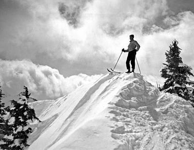 A Skier On Top Of Mount Hood Art Print by Underwood Archives