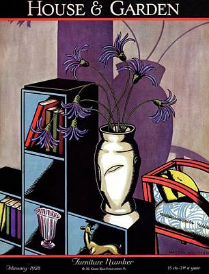 A Skyscraper Style Bookcase With A Vase Art Print by Marion Wildman