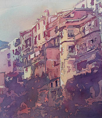 City Village Painting - A Slice Of Riomaggiore by Jenny Armitage