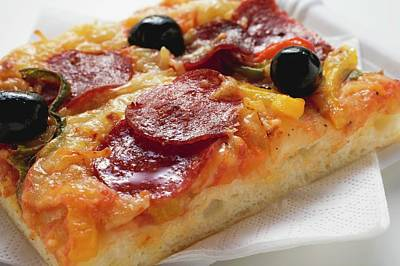 A Slice Of Salami Pizza With Peppers And Olives Art Print