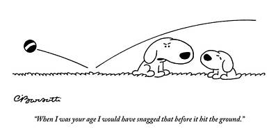 Catch Drawing - A Slightly Bigger Dog Talks To A Slightly Smaller by Charles Barsotti