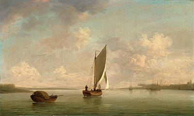 Charles River Painting - A Smack Under Sail In A Light Breeze In A River by Litz Collection