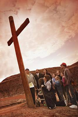 A Small Crowd Gathered At A Wooden Cross Art Print
