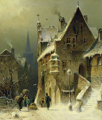 Snowfall Painting - A Small Town In The Rhine by August Schlieker