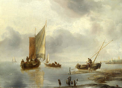 Ashore Painting - A Small Vessel In Light Airs And Another Ashore by Jan van de Cappelle