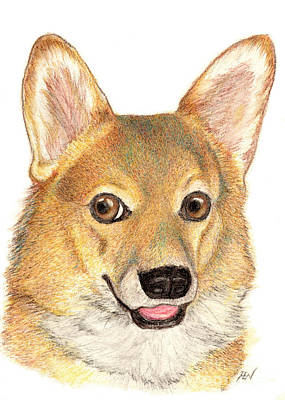 Painting - A Smiling Corgi  by Jingfen Hwu