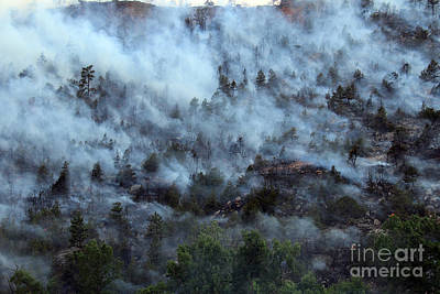 A Smoky Slope On White Draw Fire Art Print