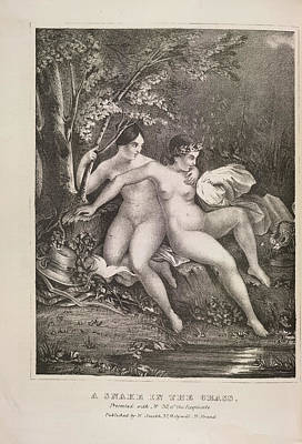 Depictions Of Nudity Photograph - A Snake In The Grass by British Library
