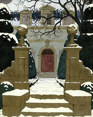 Winter Trees Digital Art - A Snow Covered Pathway Leading To A Mansion by Pierre Brissaud